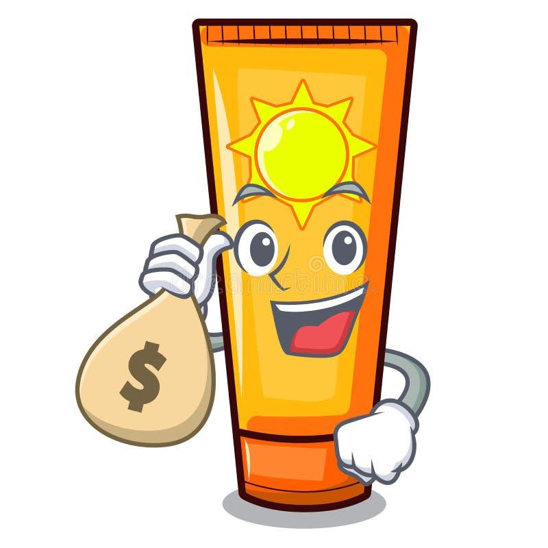 Avec de la crème du soleil de sac d'argent dans la forme de mascotte illustration libre de droits