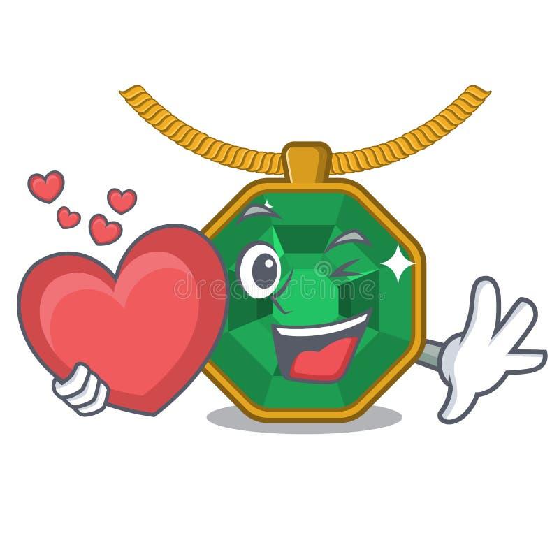Avec des bijoux de peridot de coeur dans le caractère de forme illustration libre de droits