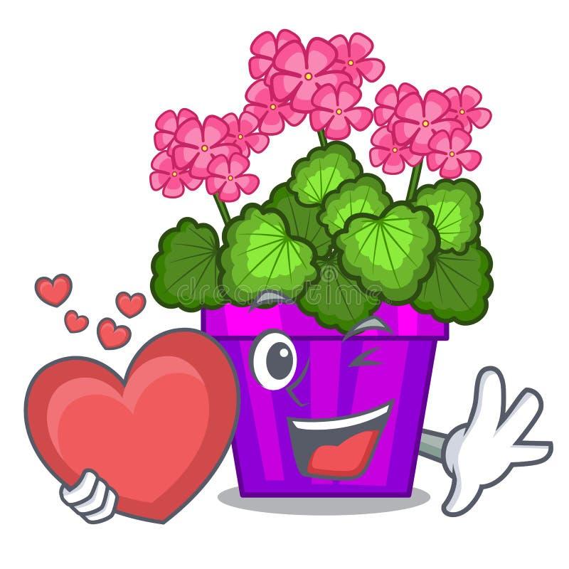 Avec des fleurs de géranium de coeur dans le pot de bande dessinée illustration stock