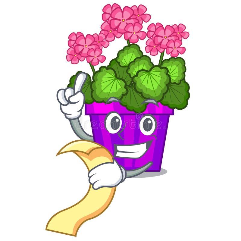 Avec des fleurs de géranium de menu dans le pot de bande dessinée illustration stock