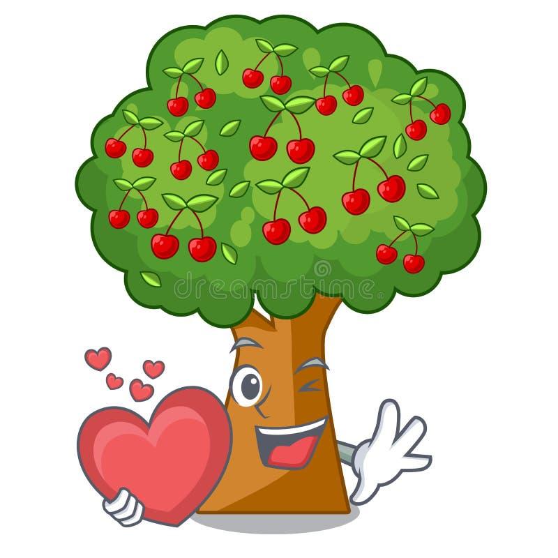 Avec des jouets de cerisier de coeur dans la forme de caractère illustration stock