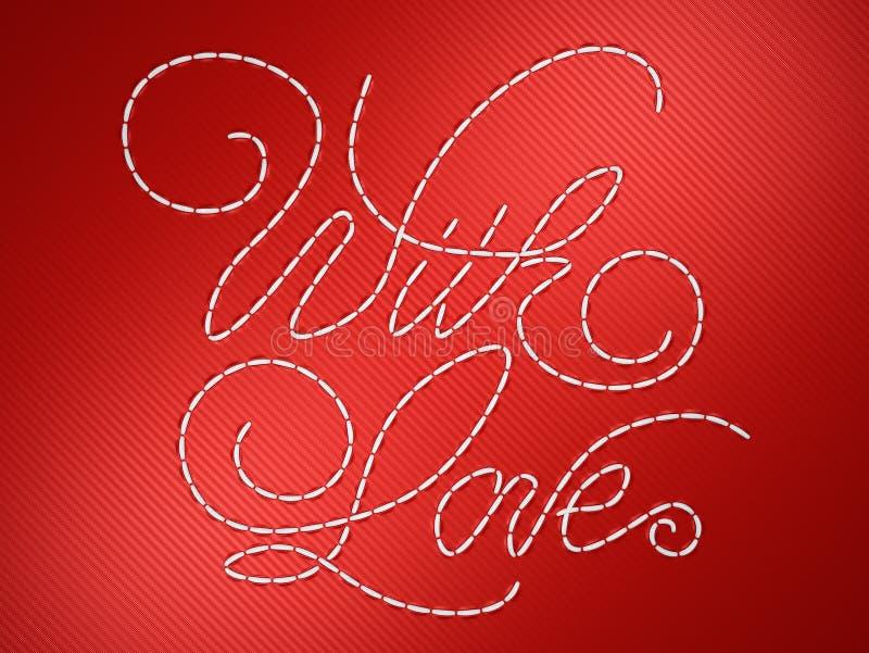 Avec des mots d'amour sur le rouge illustration de vecteur