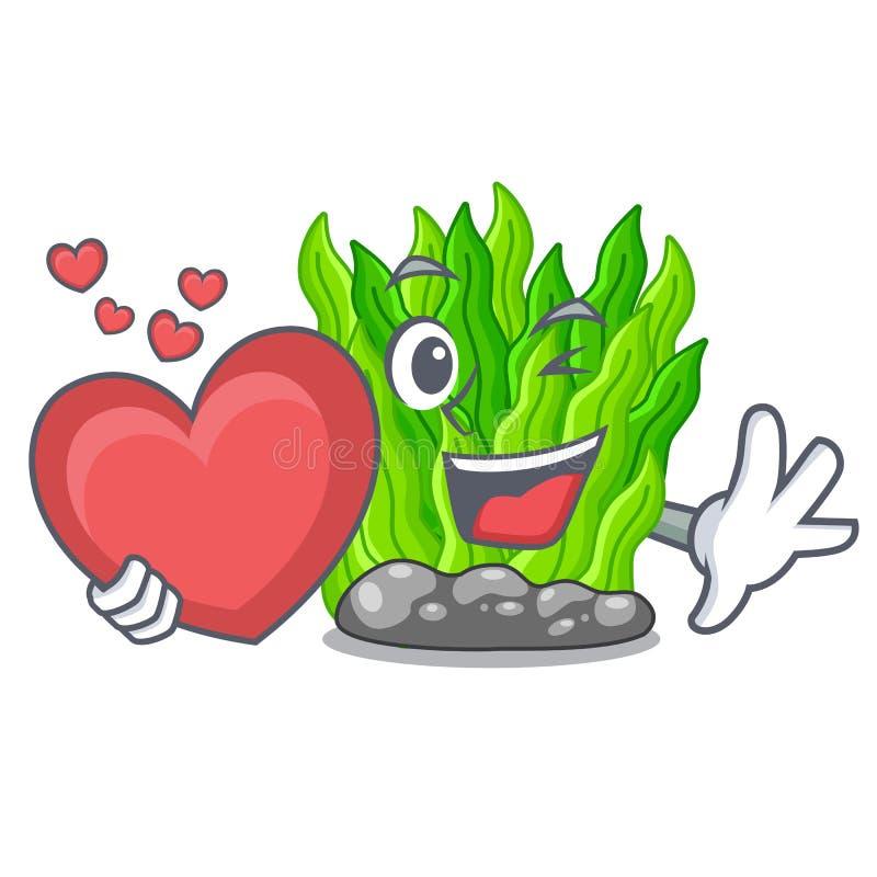 Avec l'algue verte miniature de coeur au-dessus de la table de mascotte illustration libre de droits