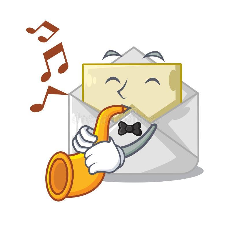 Avec l'enveloppe ouverte de trompette sur le blanc de forme de bande dessinée illustration stock