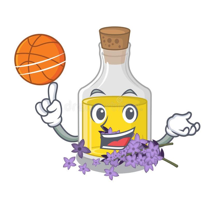Avec l'essence de lavande de basket-ball dans une bouteille de bande dessinée illustration libre de droits