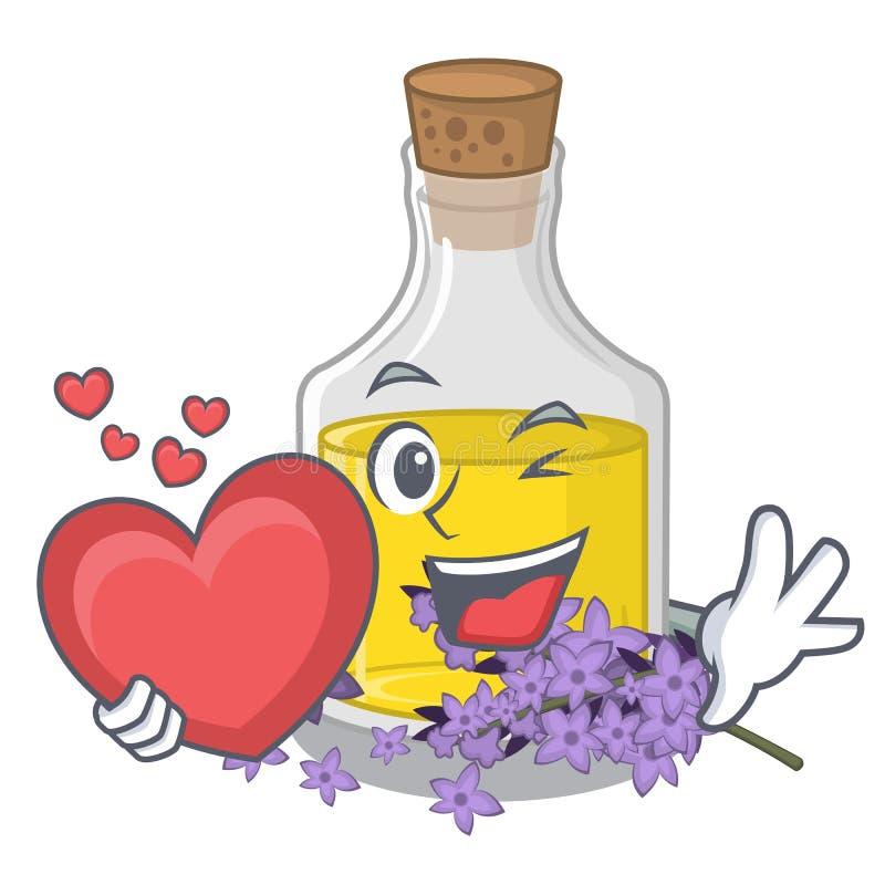 Avec l'essence de lavande de coeur dans la forme de caractère illustration stock