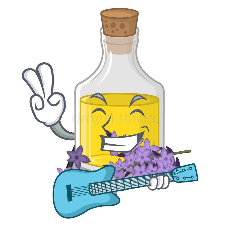 Avec l'essence de lavande de guitare dans la forme de caractère illustration libre de droits