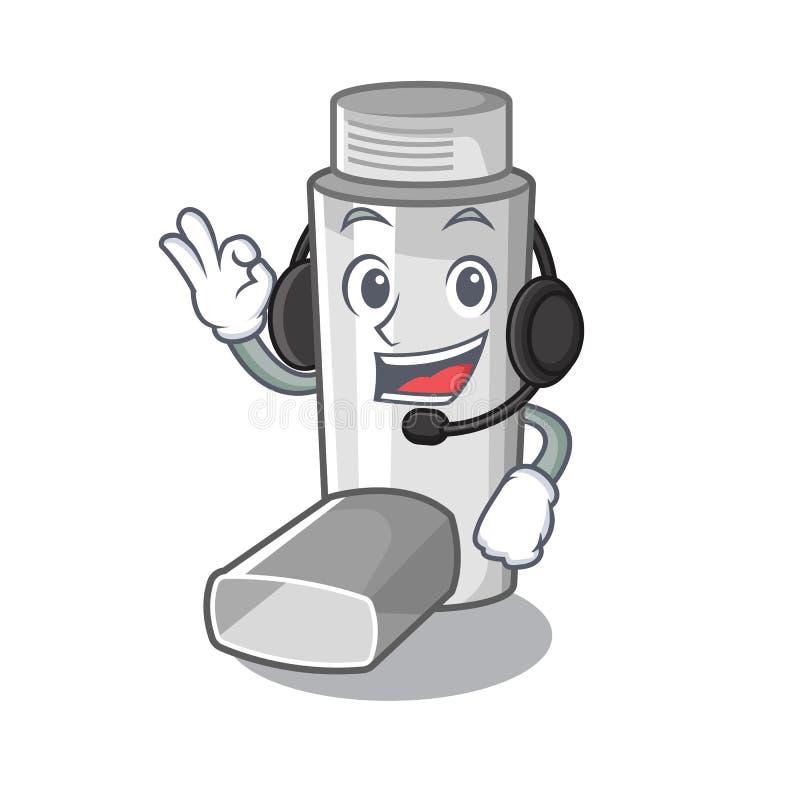 Avec l'inhalateur d'asthme d'écouteur dans le sac de caractère illustration de vecteur