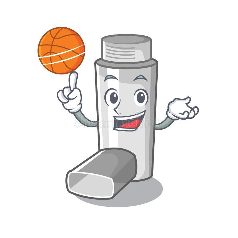 Avec l'inhalateur d'asthme de basket-ball dans la forme de bande dessinée illustration de vecteur