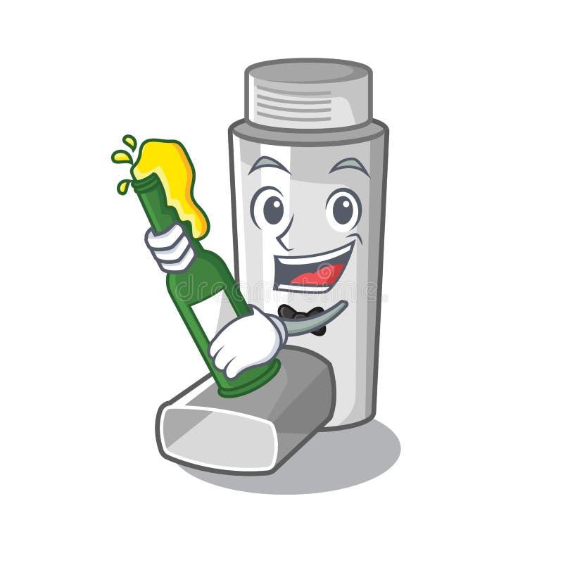 Avec l'inhalateur d'asthme de bière dans le sac de caractère illustration libre de droits