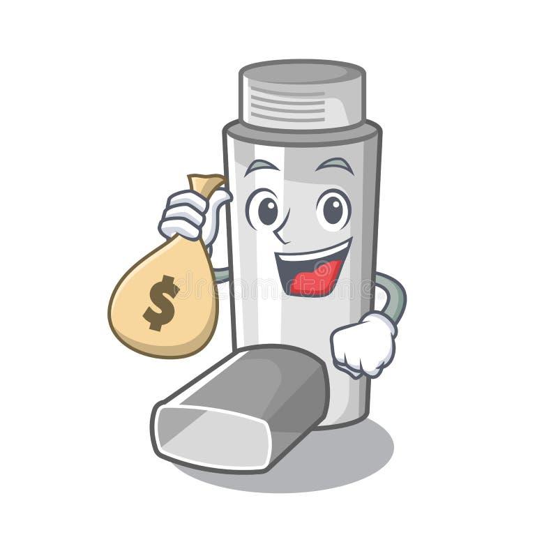 Avec l'inhalateur d'asthme de sac d'argent dans la forme de bande dessinée illustration de vecteur
