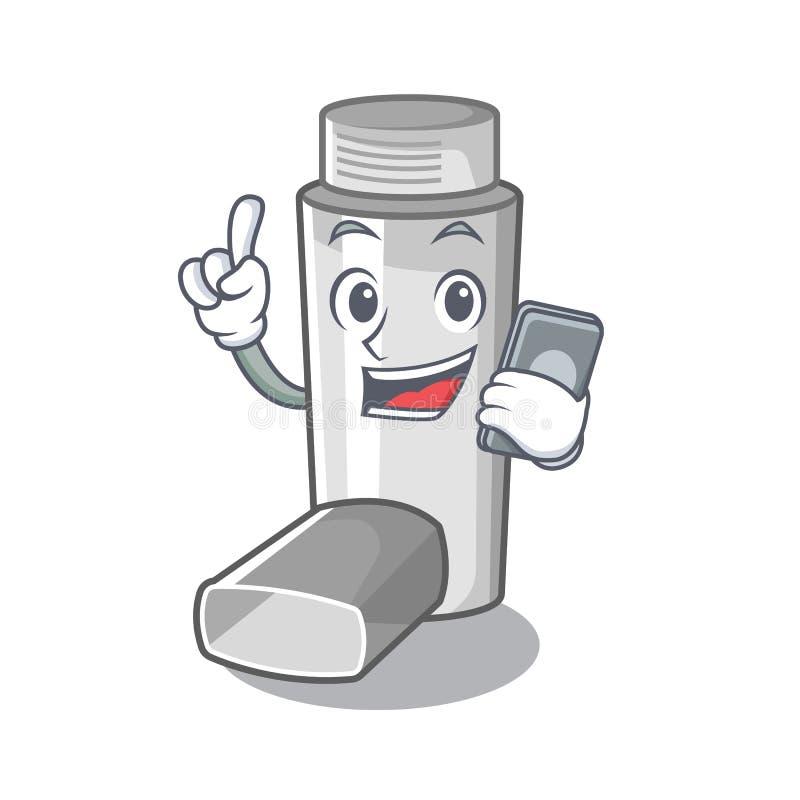 Avec l'inhalateur d'asthme de téléphone dans la forme de bande dessinée illustration de vecteur