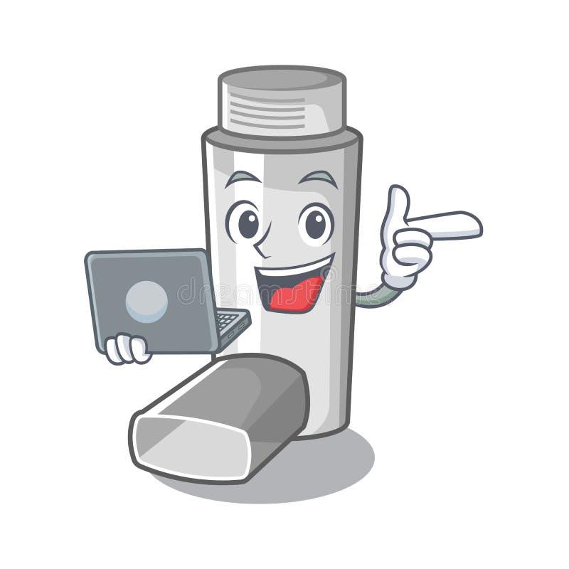 Avec l'inhalateur d'asthme d'ordinateur portable dans la forme de bande dessinée illustration libre de droits
