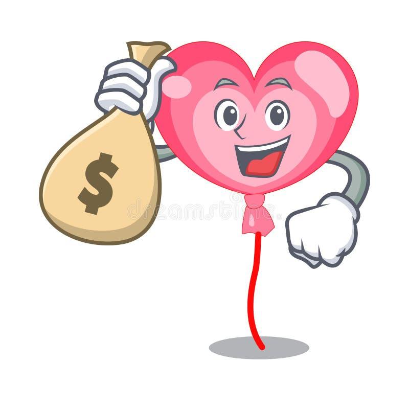 Avec la bande dessinée de caractère de coeur de ballon de sac d'argent illustration de vecteur