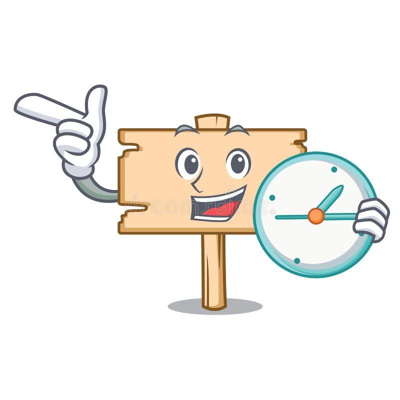 Avec la bande dessinée de caractère de panneau en bois d'horloge illustration libre de droits