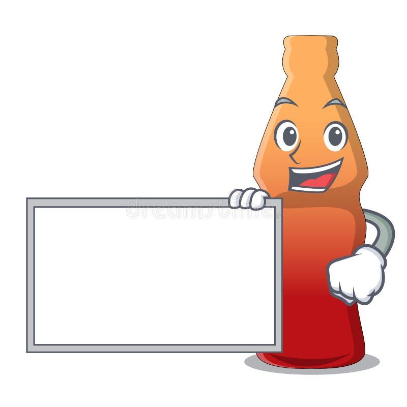 Avec la bande dessinée de caractère de sucrerie de gelée de bouteille de kola de conseil illustration stock