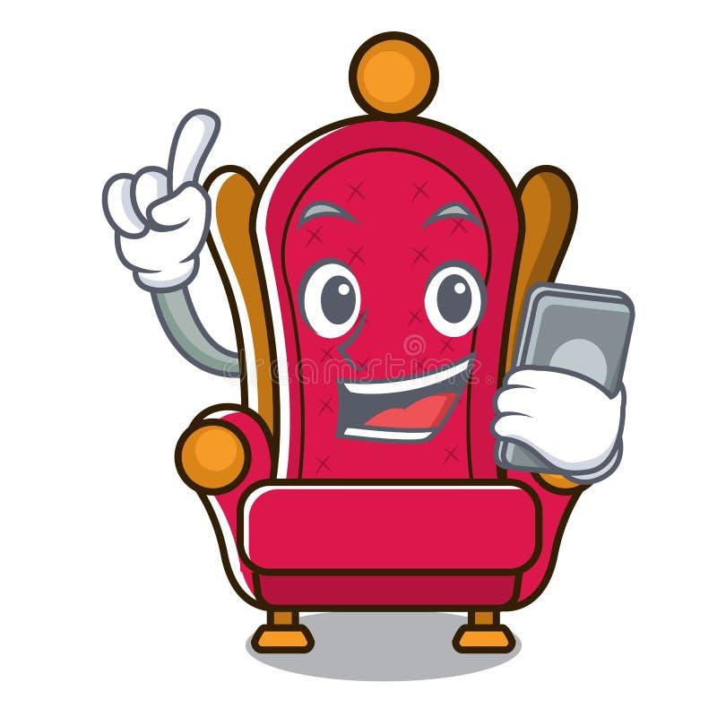 Avec la bande dessinée de caractère de trône de roi de téléphone illustration stock