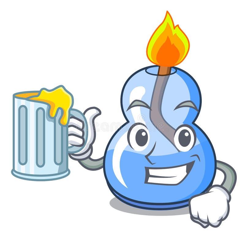 Avec la bande dessinée de mascotte de brûleur à alcool de jus illustration libre de droits