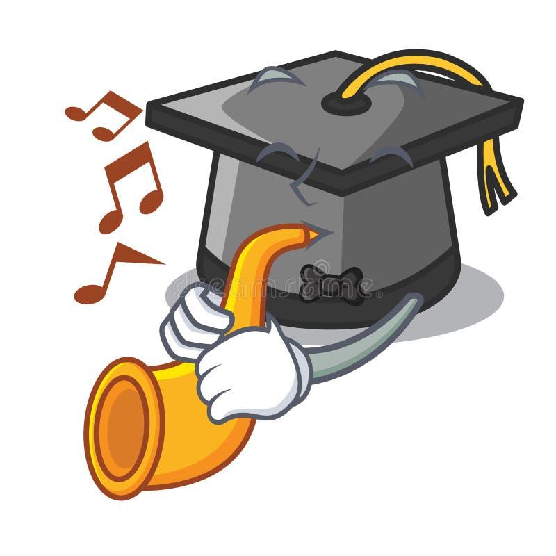 Avec la bande dessinée de mascotte de chapeau d'obtention du diplôme de trompette illustration de vecteur