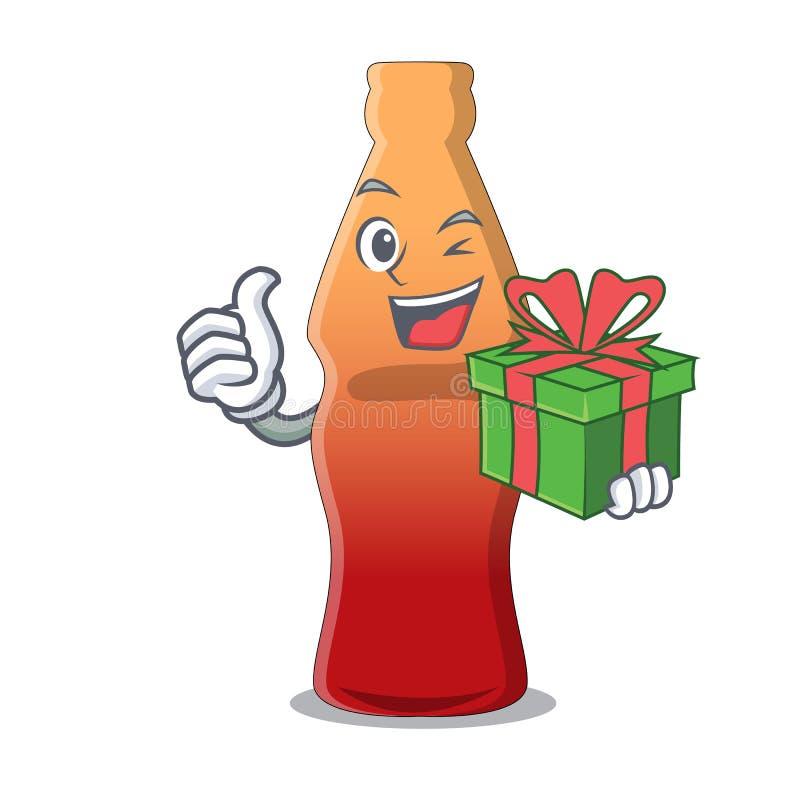 Avec la bande dessinée de mascotte de sucrerie de gelée de bouteille de kola de cadeau illustration libre de droits