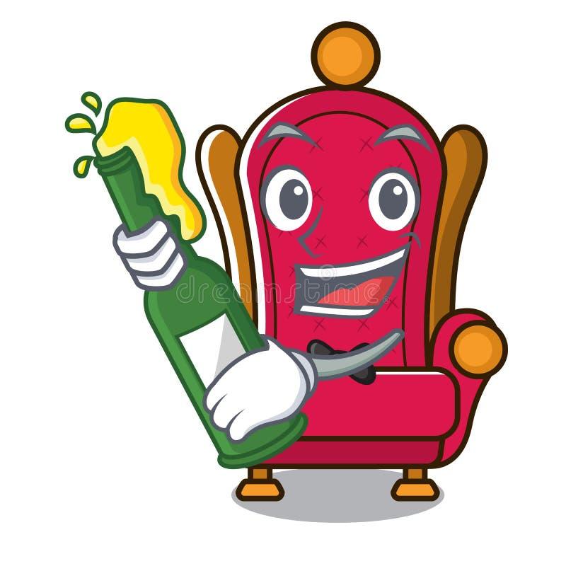 Avec la bande dessinée de mascotte de trône de roi de bière illustration libre de droits