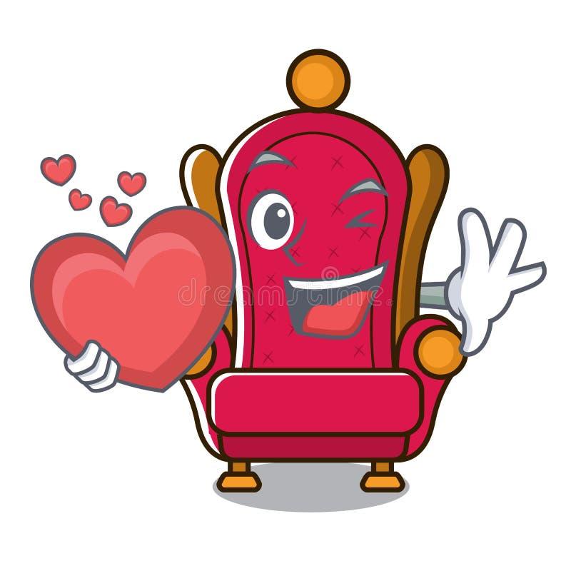 Avec la bande dessinée de mascotte de trône de roi de coeur illustration de vecteur