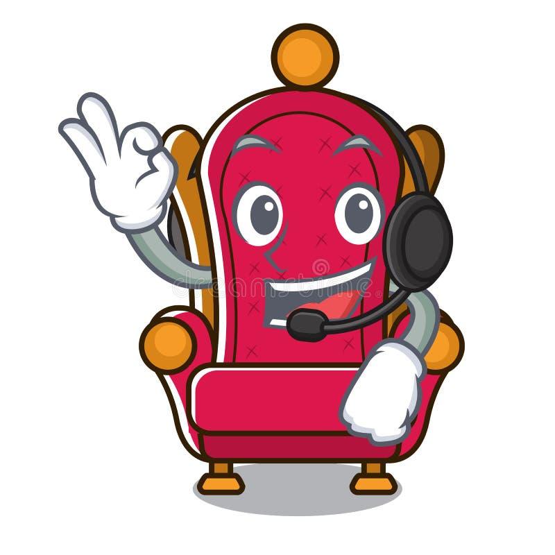 Avec la bande dessinée de mascotte de trône de roi d'écouteur illustration de vecteur