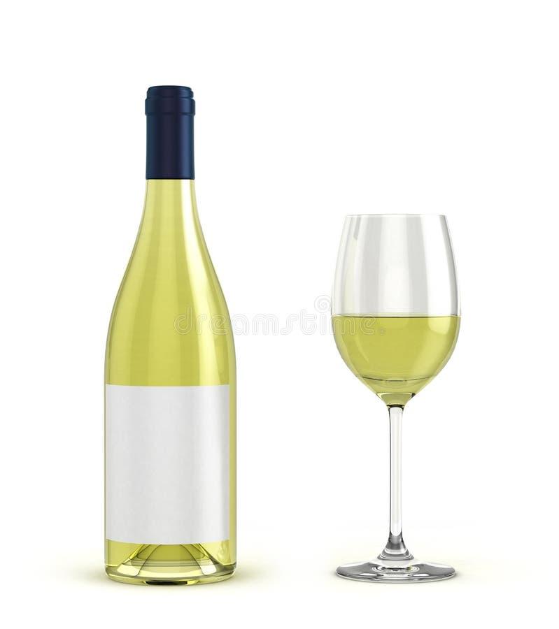 Avec la bouteille et le verre de vin blanc avec du vin sur le CCB blanc illustration de vecteur
