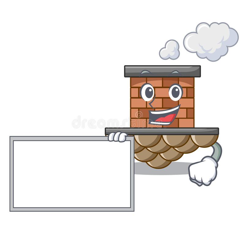 Avec la cheminée de brique de conseil dans la mascotte de forme illustration de vecteur