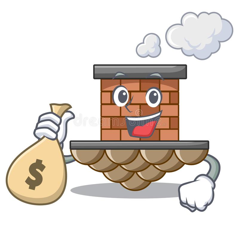 Avec la cheminée de brique de sac d'argent dans la mascotte de forme illustration stock