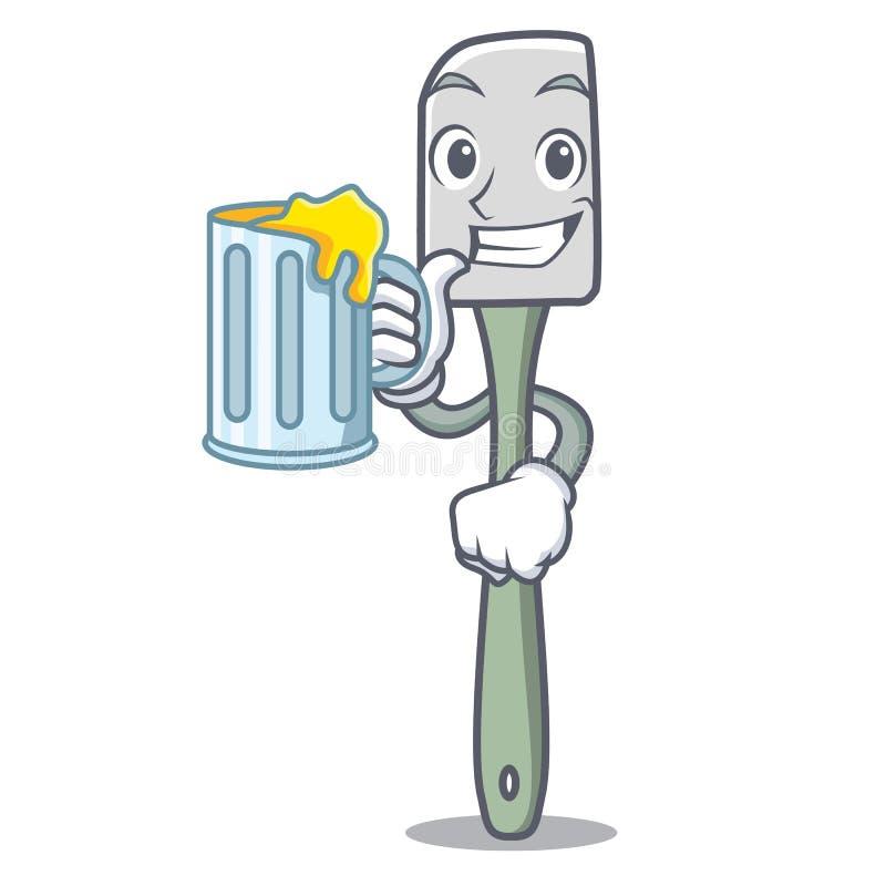 Avec la cuisson de jus usinez la bande dessinée de mascotte de spatule de silicone illustration libre de droits