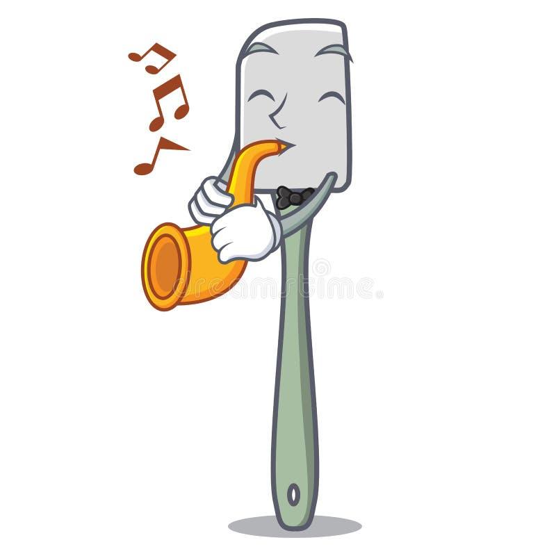 Avec la cuisson de trompette usinez la bande dessinée de mascotte de spatule de silicone illustration de vecteur