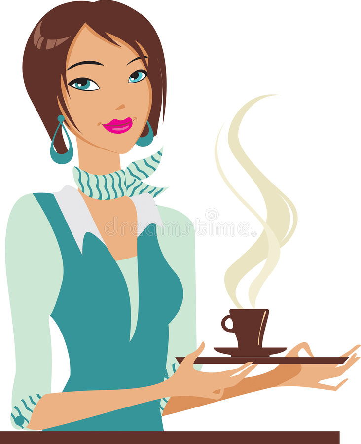 Avec la cuvette de coffe illustration libre de droits