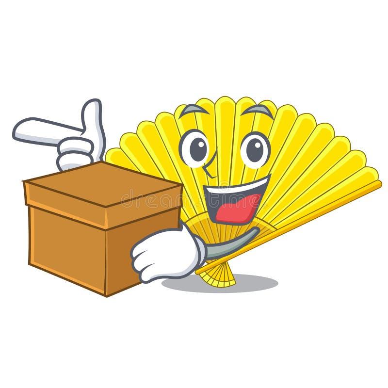 Avec la fan de pliage de souvenir de boîte dans la forme de caractère illustration stock
