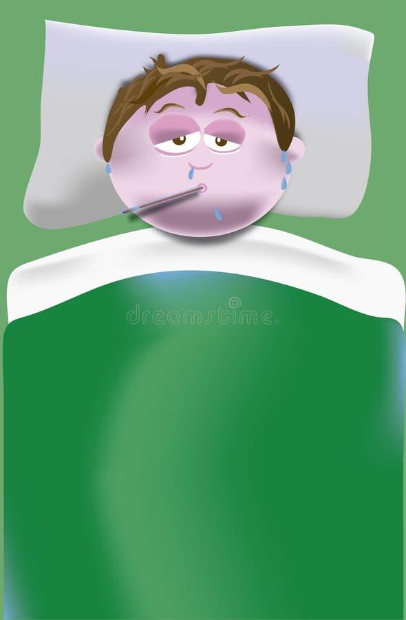 Avec la fièvre et la rogne dans le lit illustration stock
