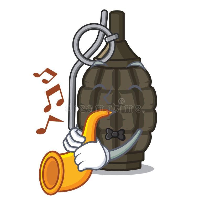 Avec la grenade a de bande dessinée de trompette dans le sac illustration stock