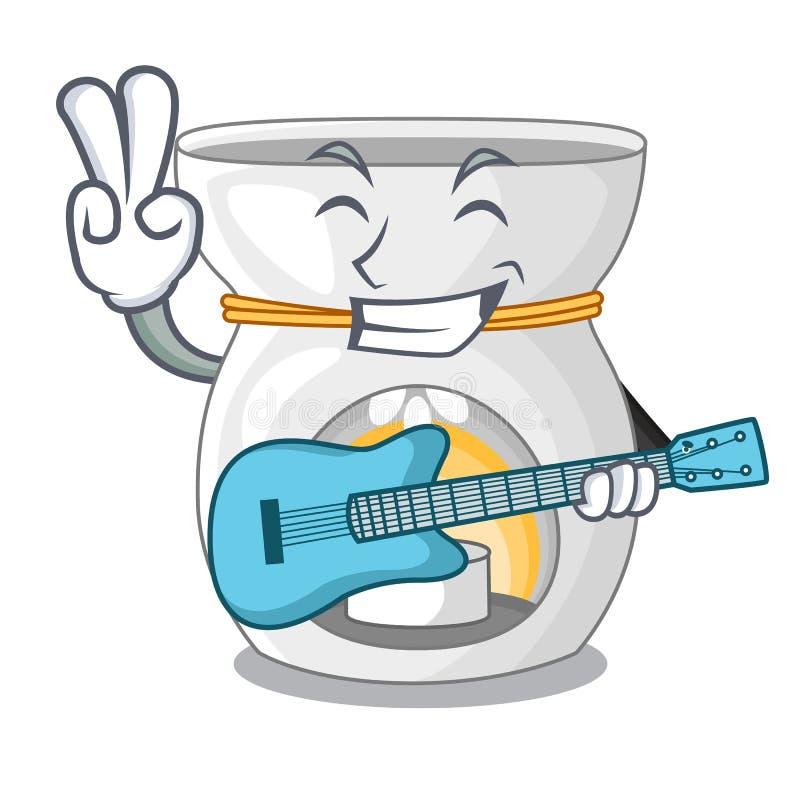 Avec la lampe d'arome de guitare avec la mascotte brûlante de bougie illustration libre de droits