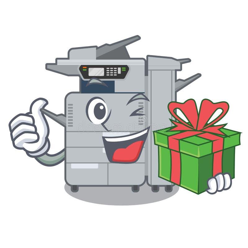 Avec la machine de copieur de cadeau au-dessus de la table en bois de mascotte illustration de vecteur
