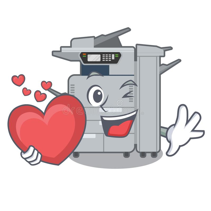Avec la machine de copieur de coeur au-dessus de la table en bois de mascotte illustration libre de droits