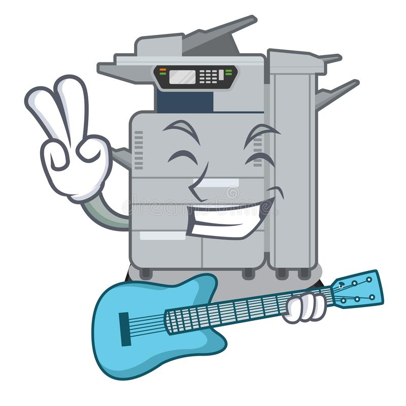 Avec la machine de copieur de guitare au-dessus de la table en bois de mascotte illustration stock
