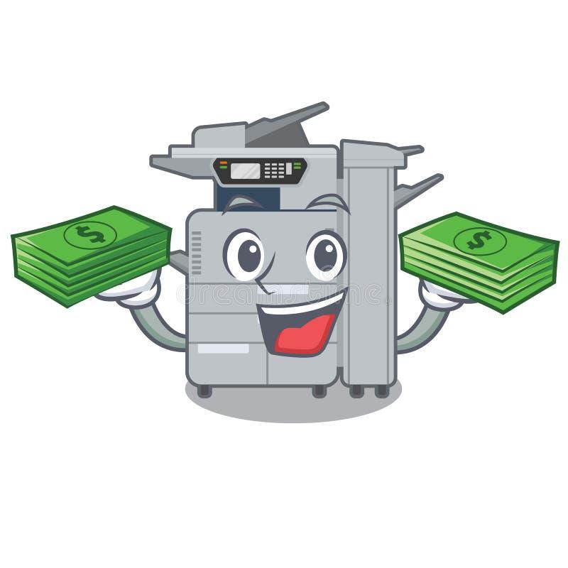 Avec la machine de copieur de sac d'argent au-dessus de la table en bois de mascotte illustration libre de droits
