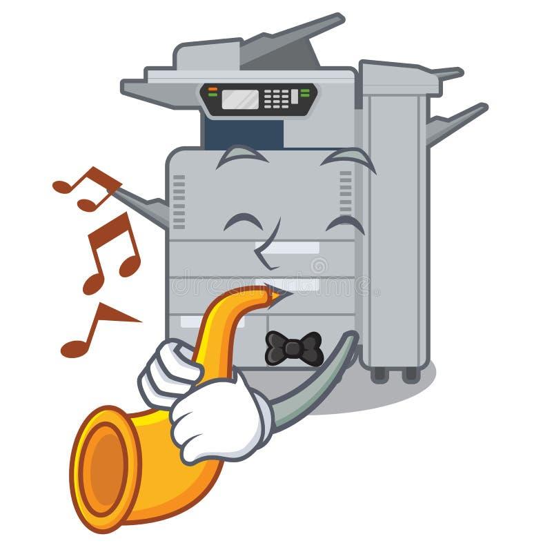Avec la machine de copieur de trompette au-dessus de la table en bois de mascotte illustration stock