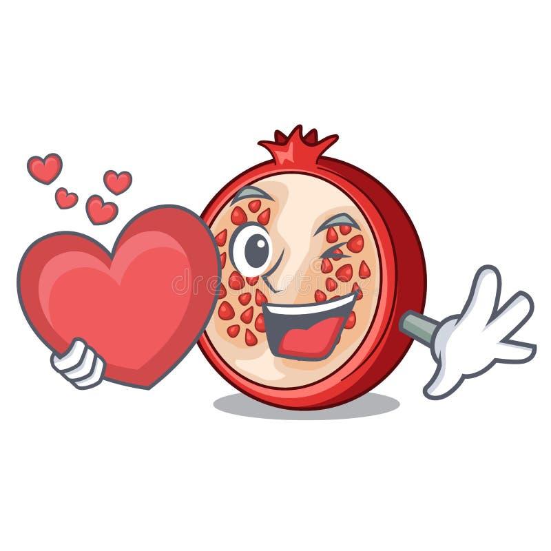 Avec la mascotte de coeur la moitié de la grenade fraîche porte des fruits illustration de vecteur