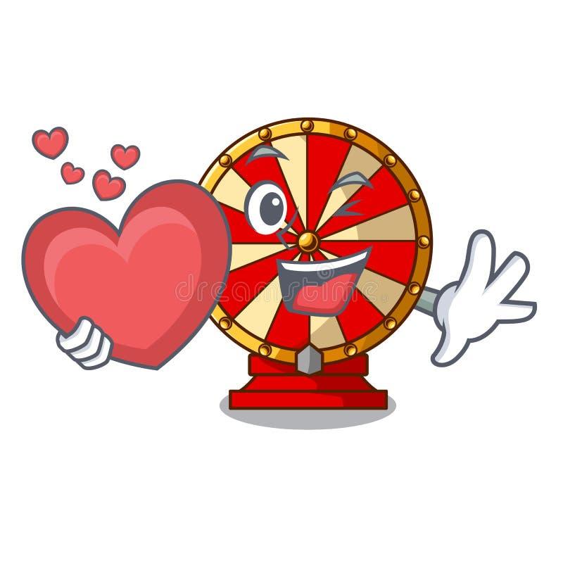 Avec la roue de rotation de coeur près de la table en bois de bande dessinée illustration de vecteur