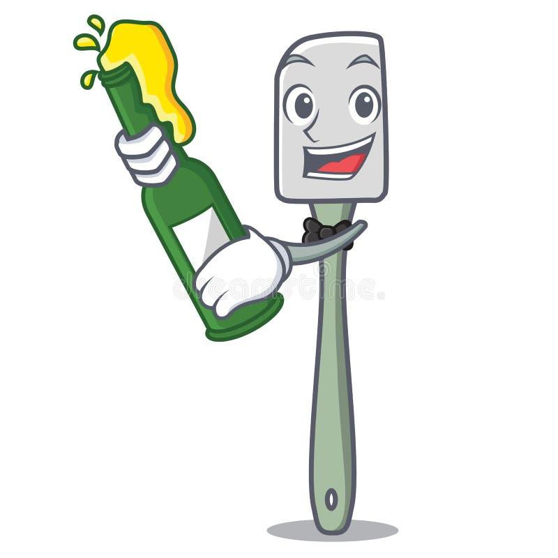 Avec la spatule de silicone de mascotte de bière pour la nourriture de mélange illustration stock