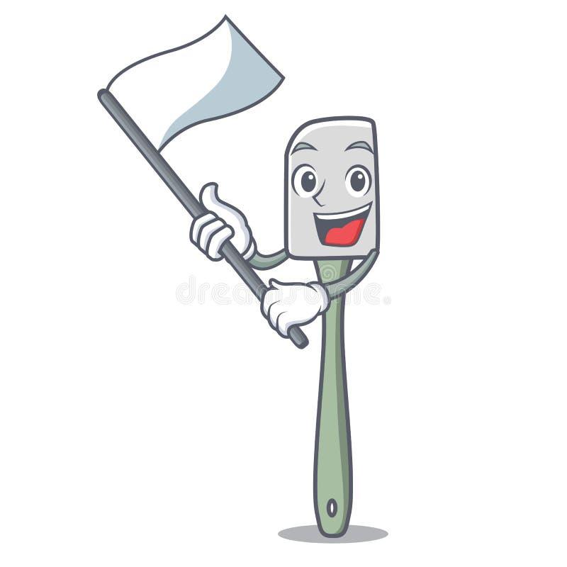 Avec la spatule de silicone de mascotte de drapeau pour la nourriture de mélange illustration stock