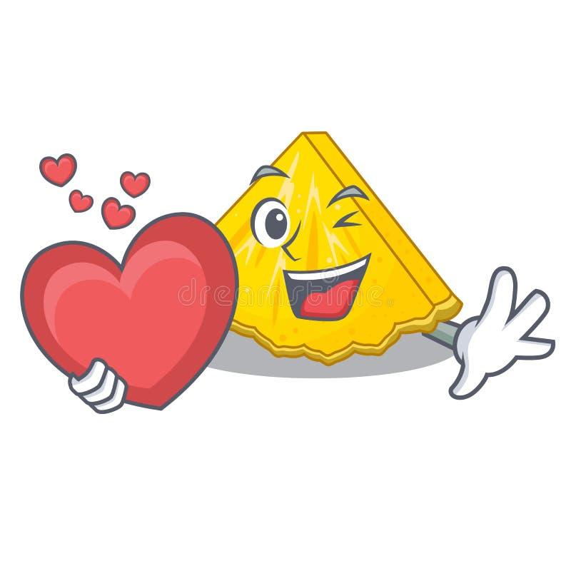 Avec la tranche d'ananas de coeur dans un réfrigérateur de bande dessinée illustration stock
