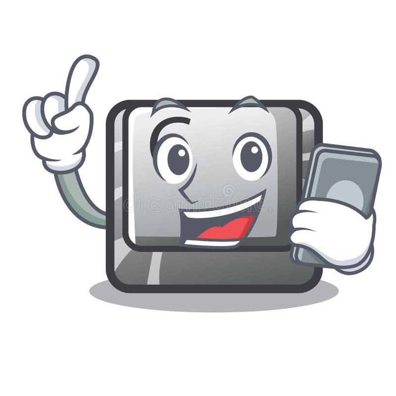 Avec le bouton C de téléphone sur un caractère de clavier illustration stock