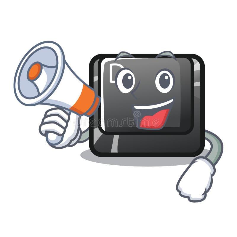 Avec le bouton D de mégaphone sur une mascotte d'ordinateur illustration de vecteur