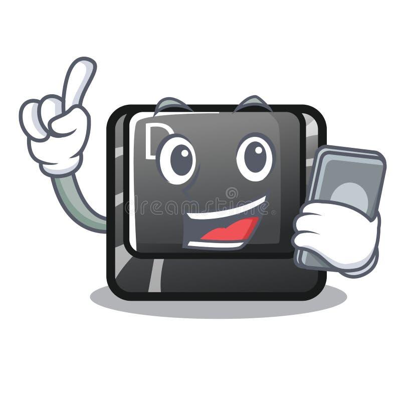 Avec le bouton D de téléphone sur une mascotte d'ordinateur illustration stock